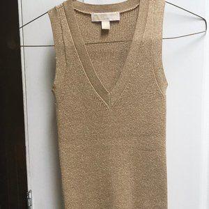 Michael Kors Gold Metallic Stretch Knit Tank Top